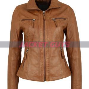 women tan brown leather jacket on sale