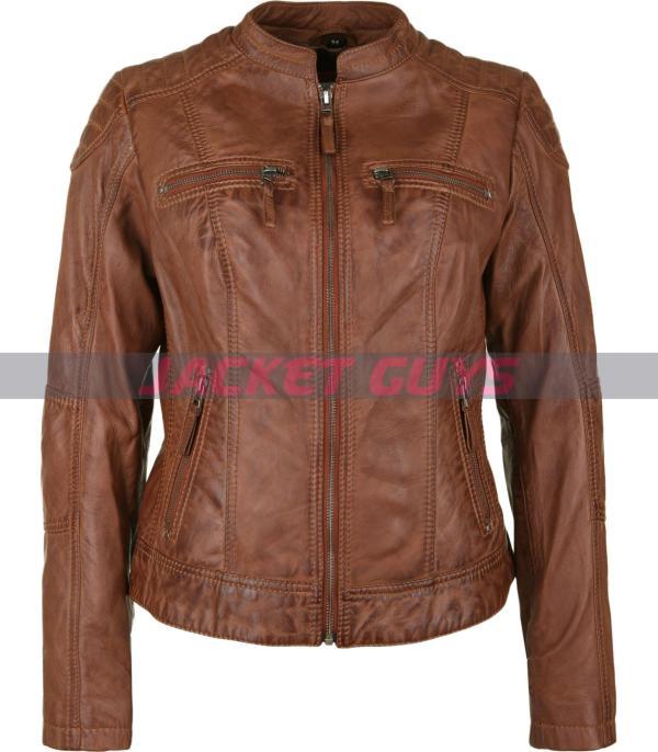 dark brown ladies leather coat on sale