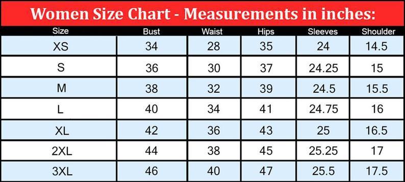 Women's Leather Jacket Size Chart