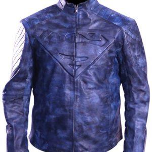 Men's Superman Distressed Blue Real Leather Jacket