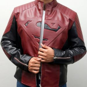 Superman Smallville Maroon & Black Leather Jacket