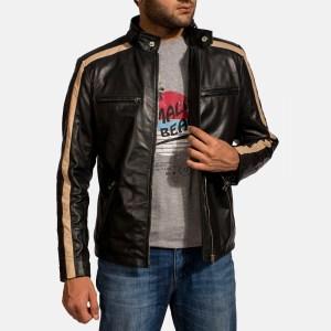 men's black cafe racer leather jacket with beige stripe