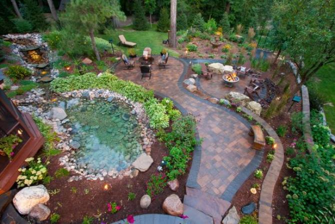 Dream Backyard with pond, seating, fire pit, flower beds