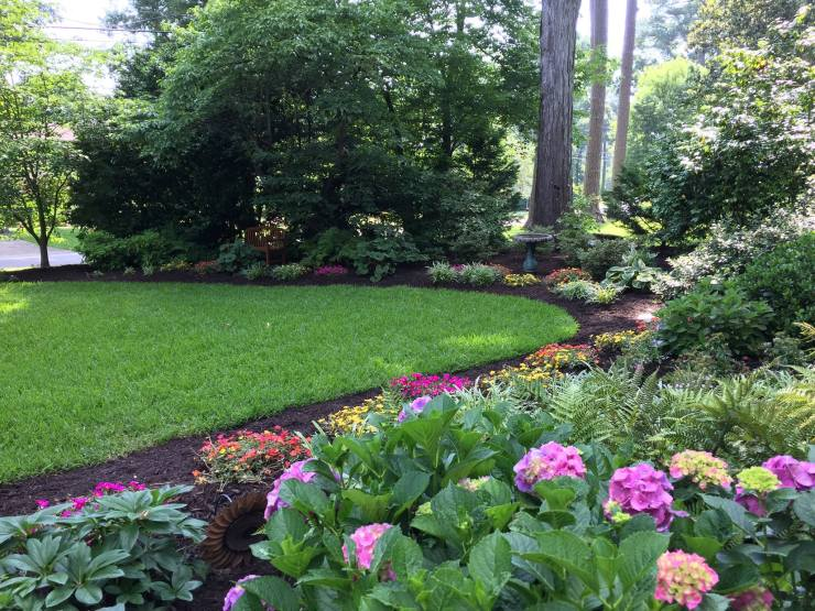 landscaping with garden beds and trees