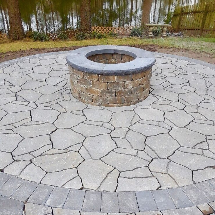 hardscaped firepit and patio virginia beach