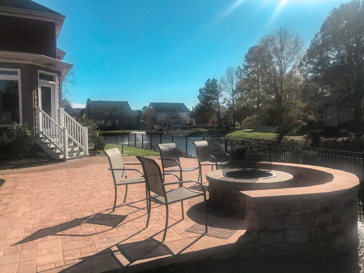 paver patio, fire pit, and retaining wall virginia beach