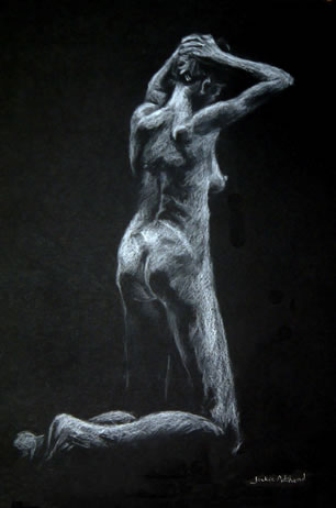 Surrender - 16 x 10 inches - Conte pencil on card