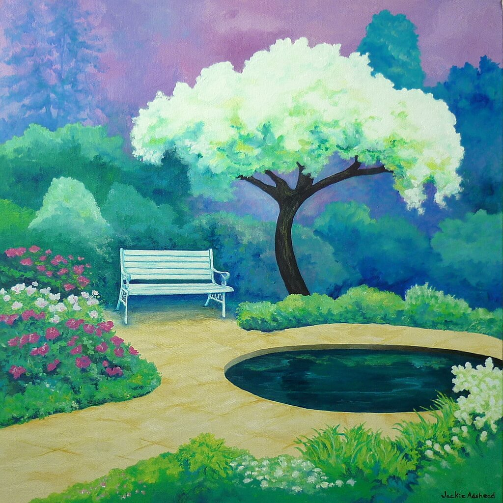 White and blossoming in the seventh Happy Garden painting