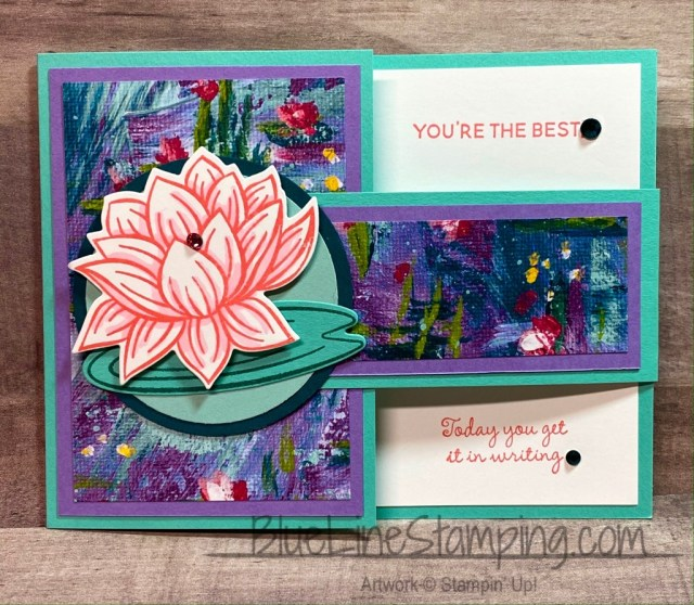 Stampin' Up!, Lovely Lily Pad, Buckle card, Jackie Beers