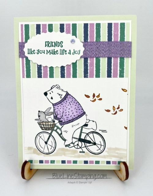 Stampin' Up!, Joyful Life, Penguin Playmates, Highland Grosgrain Ribbon, Double Oval Punch, Jackie Beers