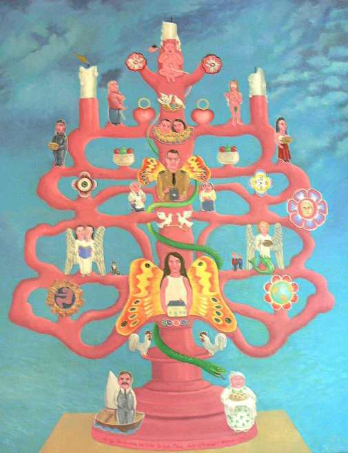 Surreal pink candelabra with family tree images