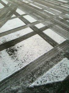snowy tire tracks