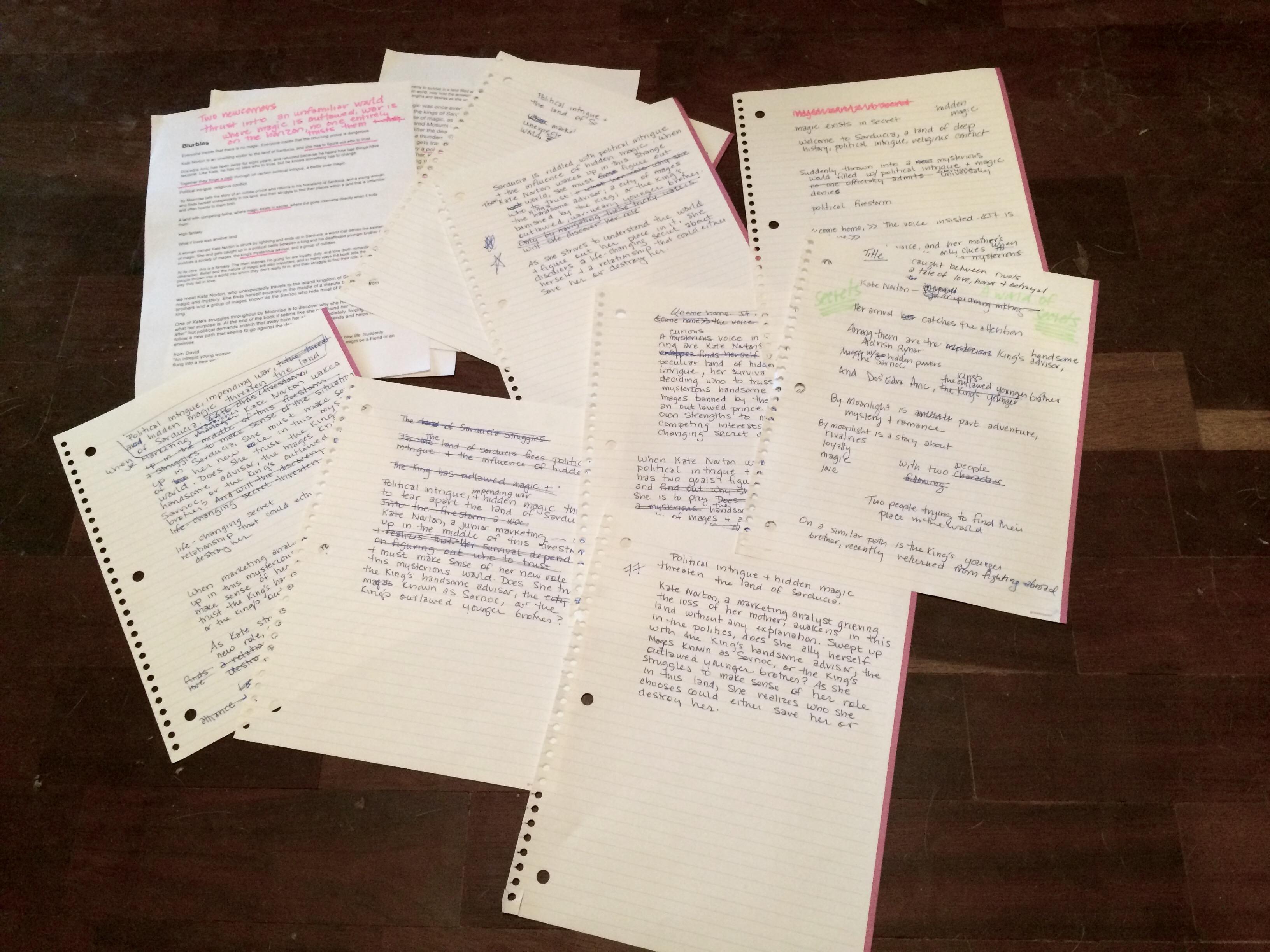 handwritten drafts