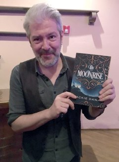 Seamus Egan with my novel By Moonrise
