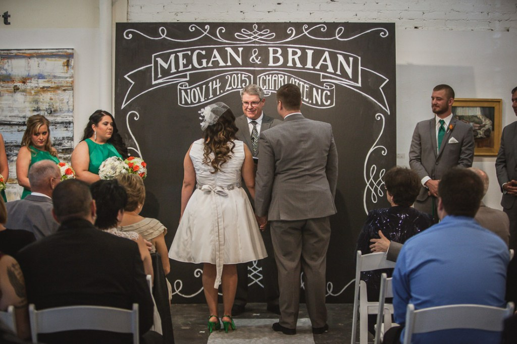 Nov. 14, 2015 -- Charlotte, N.C. -- Wedding of Megan Delgado and Brian Wahl at the Art League and Trolley Museum in Charlotte, North Carolina. (Photo by Tricia Coyne)