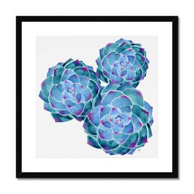 Art Print Blue Watercolour Succulents