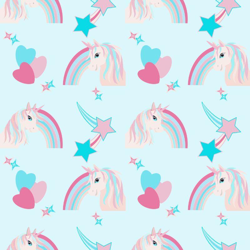 Turquoise unicorns repeat pattern