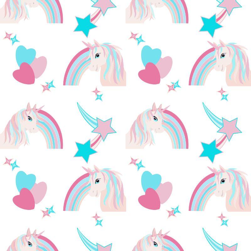 white unicorns repeat pattern