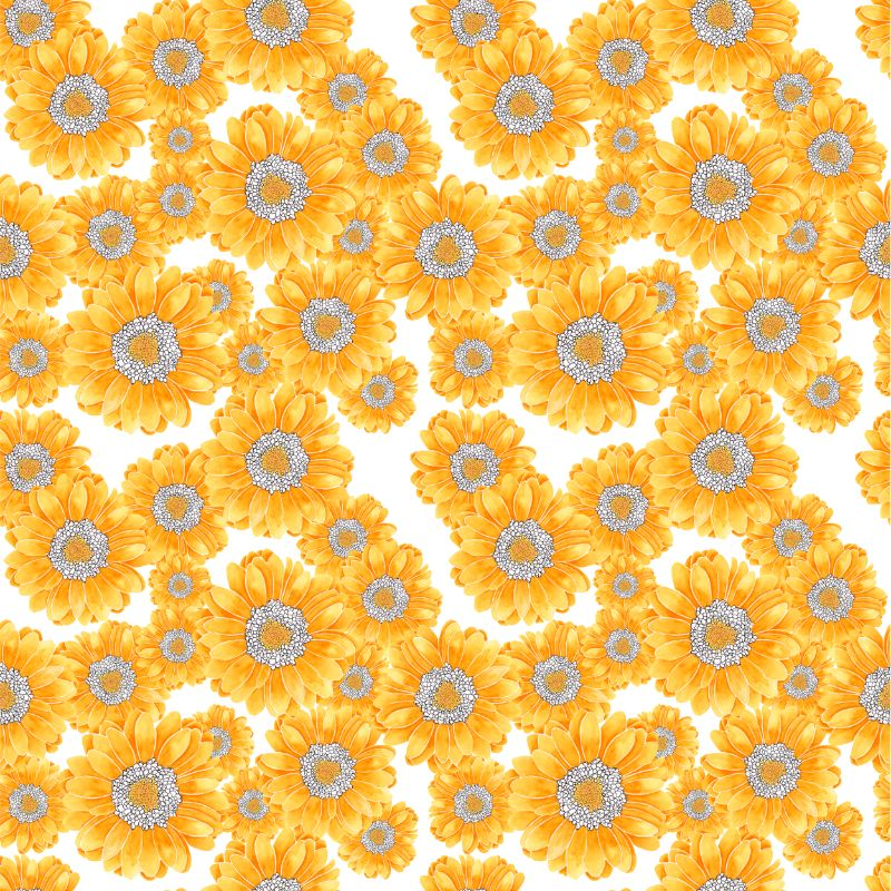 Yellow floral textile pattern