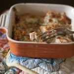Single serving of a hearty chicken parmesan casserole in spicy arrabbiata sauce in Autumn colors