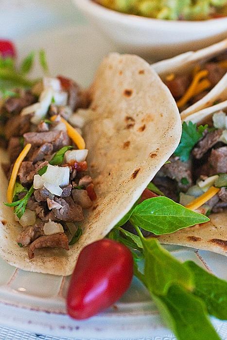 Carne asada soft tacos with Guacamole