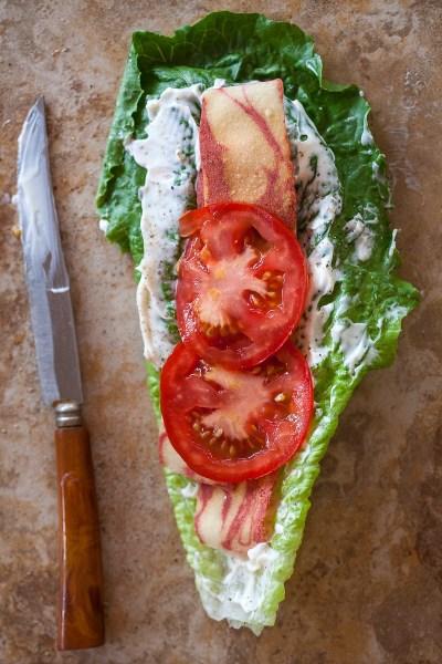 vegetarian BLT lettuce wrap