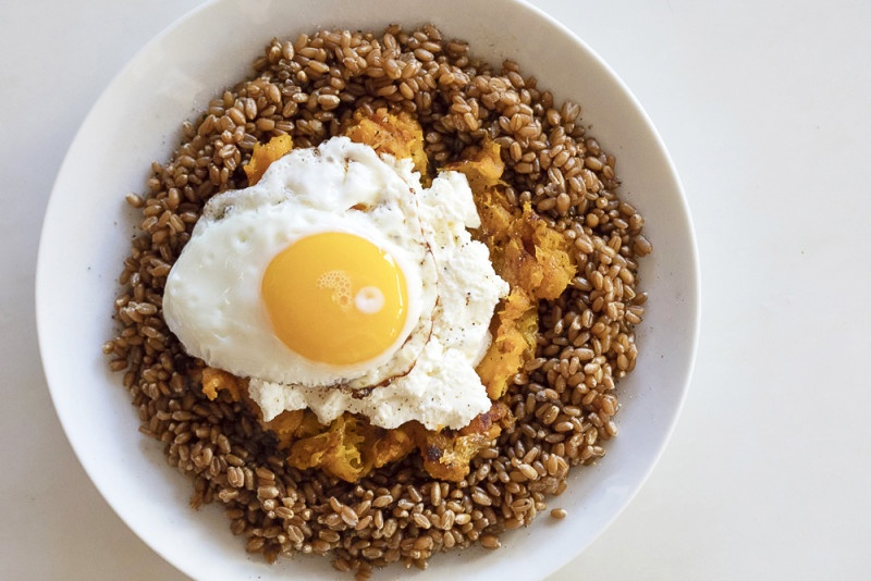 Creamy Wheat Berry and Butternut Hash Breakfast Bowl
