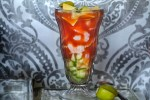 Sonoran style Shrimp cocktail in a tall glass