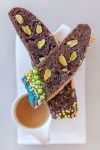 chocolate biscotti with sprinkles pistachios and coffee