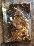 Sonoran style flank steak marinating in a resealable plastic bag