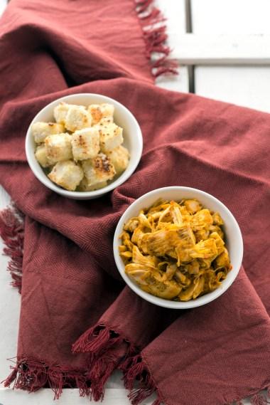 Coconut-crusted tofu and Jackfruit Sofrito