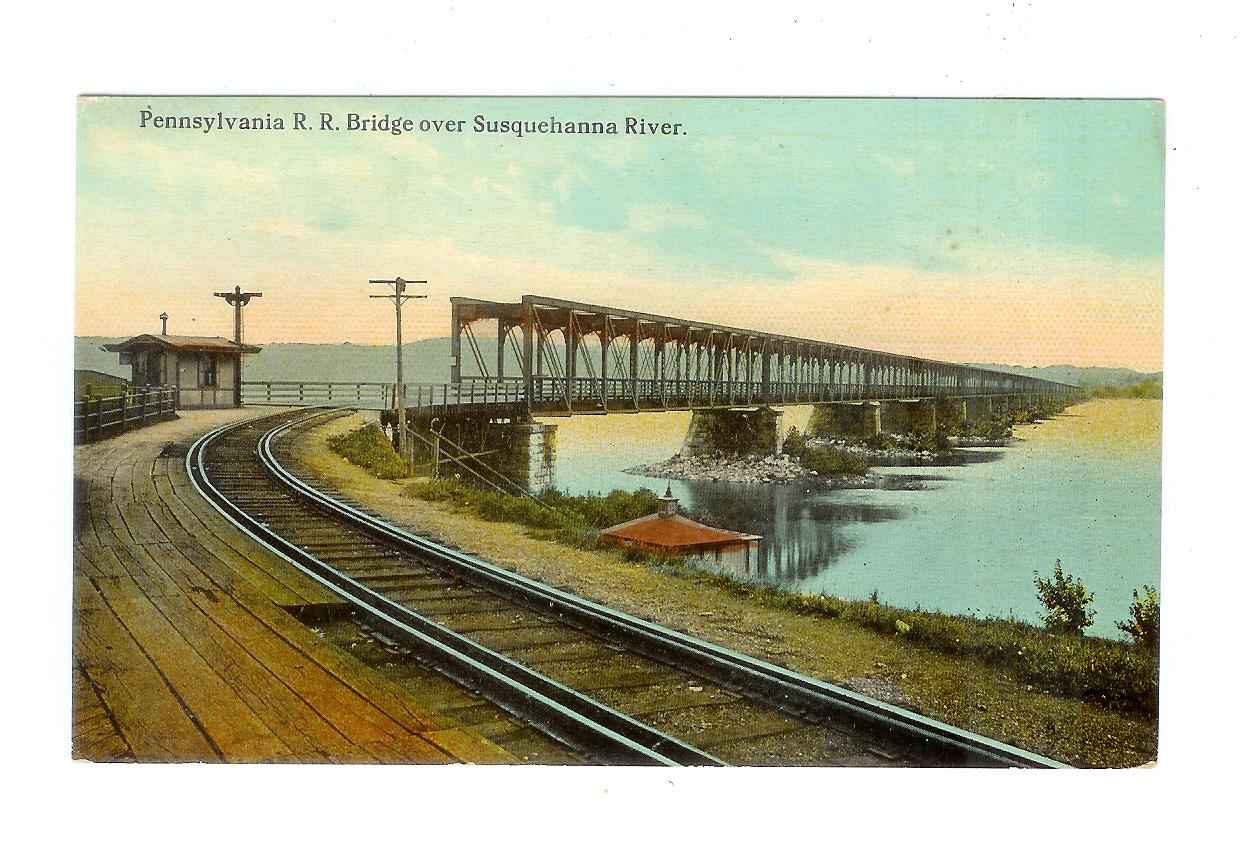 Old Postcard Pennsylvania Railroad Bridge Over