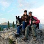 On a mountain at the top of a Chena Hot Springs trail, with Sport & Tigger