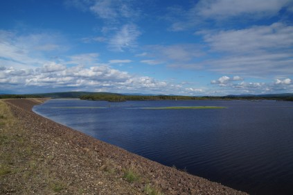 This is the reservoir (floodway) that is now filled because the floodgates were lowered.