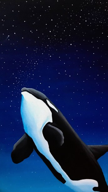 Orca at night - Phone Wallpaper
