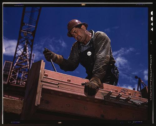 'Big Pete' Ramagos, rigger at work on dam (TVA) Douglas Dam, Tenn., in June 1942