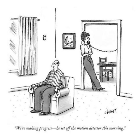 tom-cheney-we-re-making-progress-he-set-off-the-motion-detector-this-morning-new-yorker-cartoon
