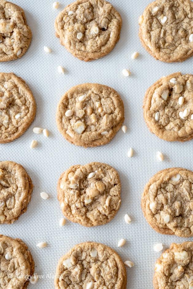 white chocolate nut dairy free cookies