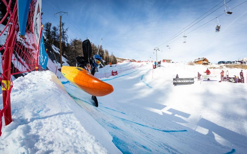 Kayaking in Snow   Winter Outdoormix SnowKayak 2020