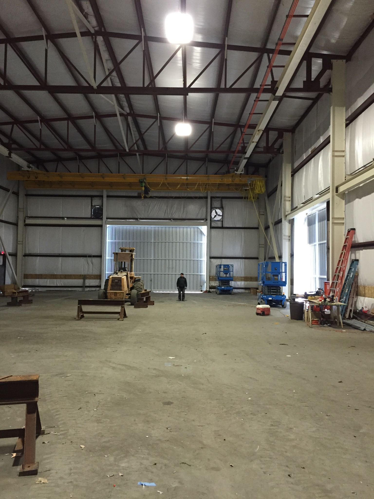 commercial electrical led shop light construction interior