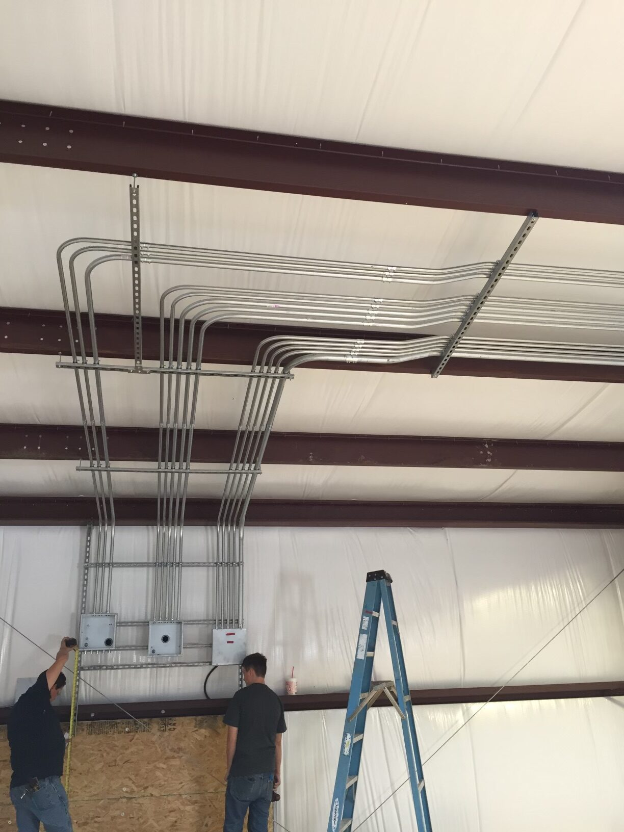 conduit pipe electrical panels commercial construction warehouse