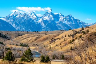 View of the Teton Range from the Gros Ventre Basin in Jackson Hole Wyoming