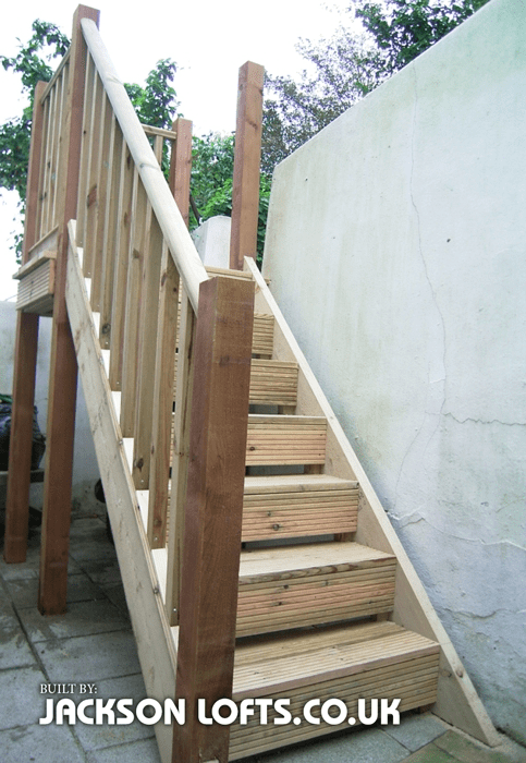 Wooden Garden Staircase With Handrail Brighton Jackson Loft   Wooden Handrail For Garden Steps   Stone Step   Free Standing   Metal   Wrought Iron   Front Door Step