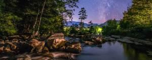 jackson nh waterfalls under stunning night sky, stars and milky way