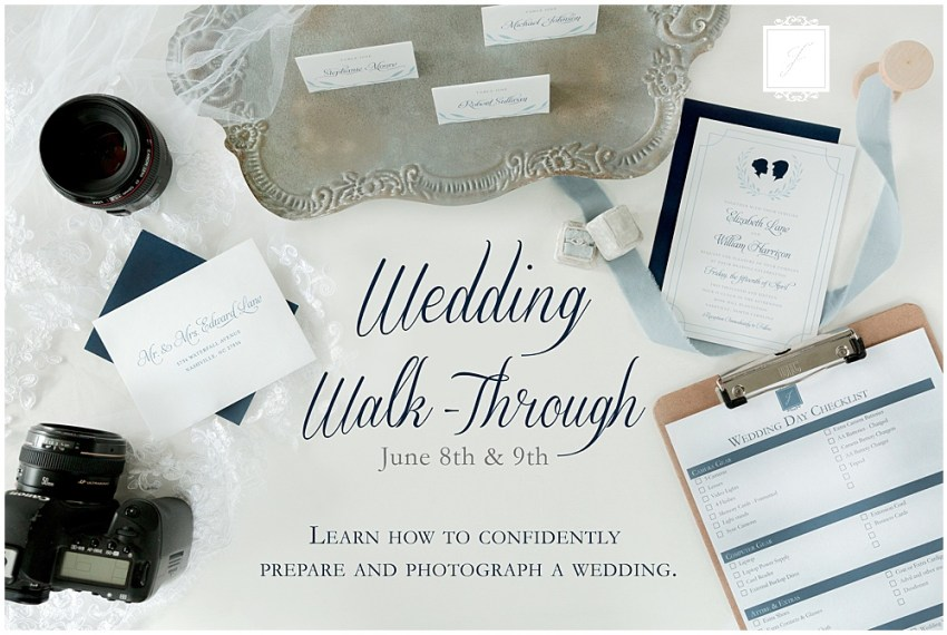 Wedding walk through workshop for new photographers or photographers whoo would like to learn how to photograph a wedding.