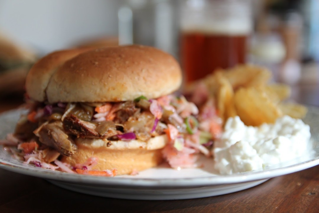 pulled pork sandwich plated