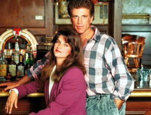 Cheers Actors Kirstie Alley as Rebecca Howe and Ted Danson as Samuel Sam Mayday Malone on 20 Years of Must See TV. Half Length.