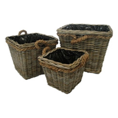 Grey Rattan Log/Planters with Rope Handles
