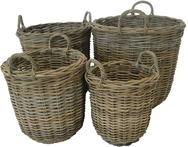 Grey Rattan Log/Store with ear handles
