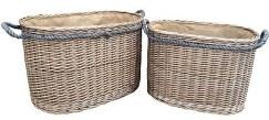 Oval Rope Handled Log Basket